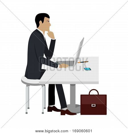 Business ducation. Businessman working at the computer laptop. Man sitting at the desk and working. Business education infographic. Professional growth, constant learning concept. Vector illustration