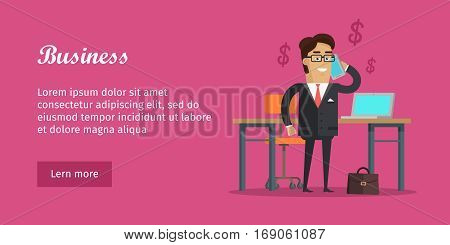 Business banner. Man speaking on telephone near the desk. Office work interior design. Men in office room, business man discusses issues connected with money. Marketing concept. Vector illustration
