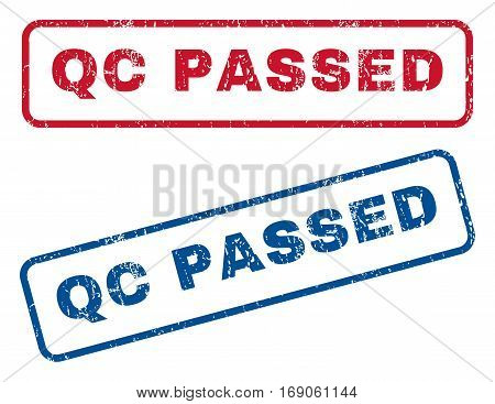 Qc Passed text rubber seal stamp watermarks. Vector style is blue and red ink caption inside rounded rectangular shape. Grunge design and scratched texture. Blue and red signs.
