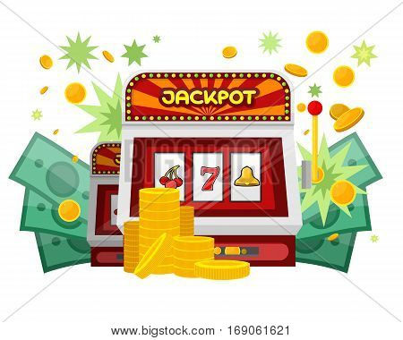 Slot machine web banner isolated on green. One arm gambling device. Casino jackpot, slot machine, fruit machine, luck game, chance and gamble. Vector illustration in flat style