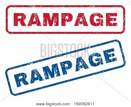 Rampage text rubber seal stamp watermarks. Vector style is blue and red ink tag inside rounded rectangular shape. Grunge design and dirty texture. Blue and red emblems.
