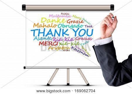 Thank you message in different languages on whiteboard