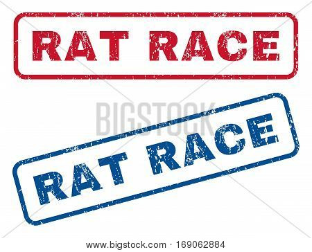 Rat Race text rubber seal stamp watermarks. Vector style is blue and red ink tag inside rounded rectangular banner. Grunge design and unclean texture. Blue and red emblems.