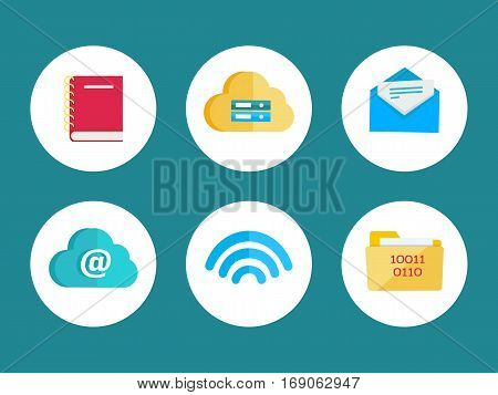 Flat icons for web and mobile applications. Leather notebook, cloud storage, mail letter, online storage, wireless connection, folder with digital data. Internet signs symbols. Vector flat style