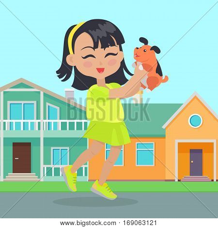 Girl holds small dog in her hands in front of houses. Little girl has leisure time. School girl during break. Young lady at playground, playing with toy puppy. Favourite toy. Daily activity. Vector