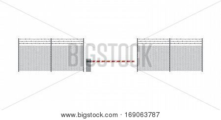 Metal fence and barrier in flat style. Industrial fence of netting.