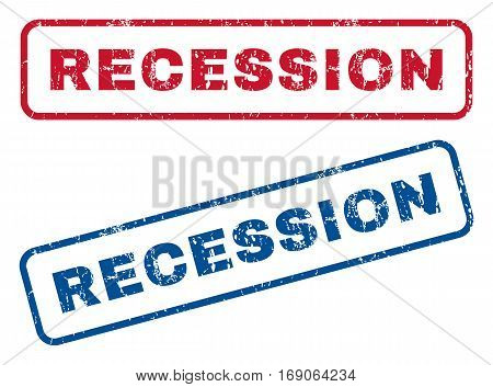 Recession text rubber seal stamp watermarks. Vector style is blue and red ink caption inside rounded rectangular banner. Grunge design and unclean texture. Blue and red stickers.