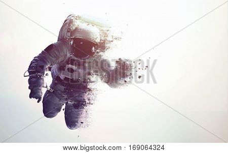 Astronaut in outer space modern minimalistic art. Dualtone, anaglyph. Elements of this image furnished by NASA