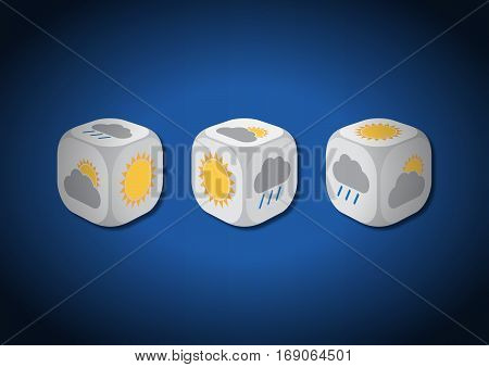 A 3D illustration of three dice with meteorological symbols. On each face of the dice are illustrated symbols representing different weather conditions.
