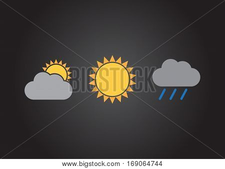 An illustration of three meteorological signs on a dark background