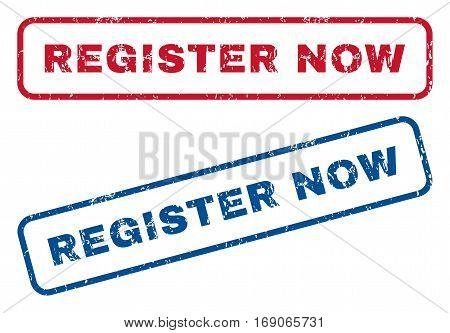Register Now text rubber seal stamp watermarks. Vector style is blue and red ink caption inside rounded rectangular banner. Grunge design and unclean texture. Blue and red emblems.
