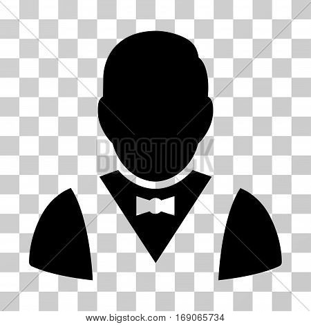 Waiter icon. Vector illustration style is flat iconic symbol, black color, transparent background. Designed for web and software interfaces.