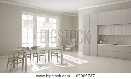Scandinavian Classic White Kitchen With Wooden And Gray Details, Minimalistic And Modern Interior De