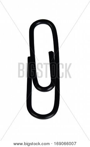 Black paper clip. Isolated on white background