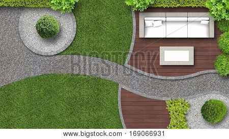 garden design in top view including garden furniture