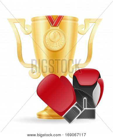 Boxing Cup Winner Gold Stock Vector Illustration