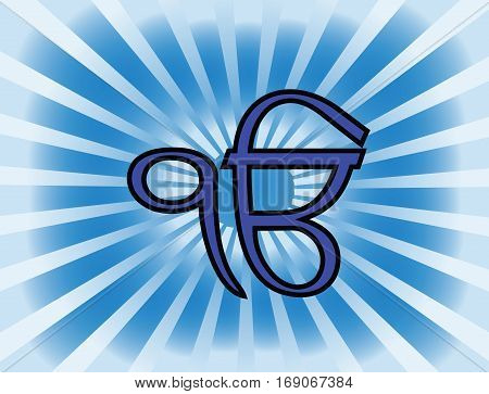 Ek Onkar is the most significant symbol of Sikhism. Gradient blue rays.
