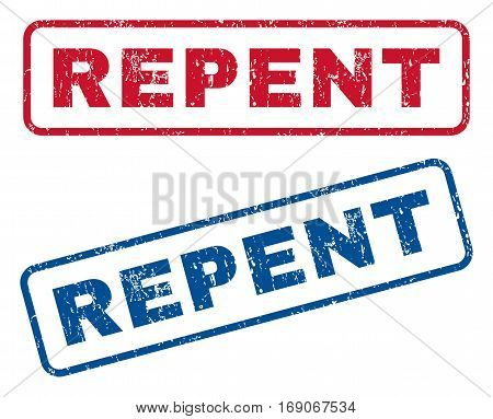 Repent text rubber seal stamp watermarks. Vector style is blue and red ink tag inside rounded rectangular banner. Grunge design and dust texture. Blue and red stickers.