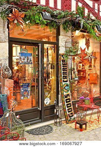 Rouen France - november 26 2016 : antic shop in the historical city center in winter