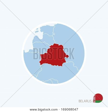 Map Icon Of Belarus. Blue Map Of Europe With Highlighted Belarus In Red Color.