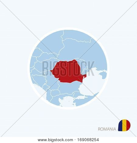 Map Icon Of Romania. Blue Map Of Europe With Highlighted Romania In Red Color.