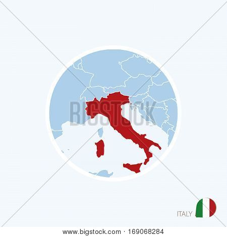 Map Icon Of Italy. Blue Map Of Europe With Highlighted Italy In Red Color.