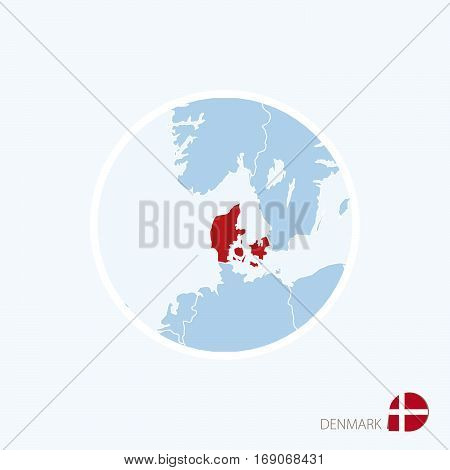 Map Icon Of Denmark. Blue Map Of Europe With Highlighted Denmark In Red Color.