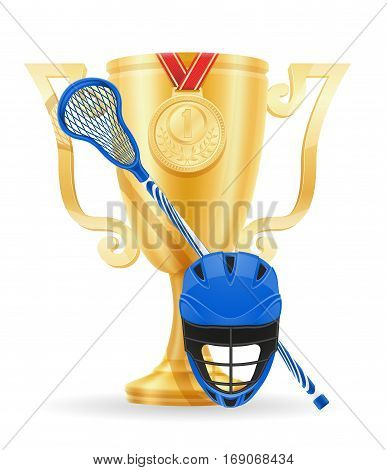 Lacrosse Cup Winner Gold Stock Vector Illustration