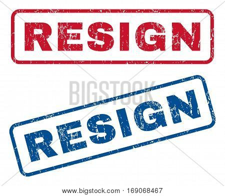 Resign text rubber seal stamp watermarks. Vector style is blue and red ink tag inside rounded rectangular banner. Grunge design and unclean texture. Blue and red emblems.