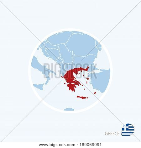 Map Icon Of Greece. Blue Map Of Europe With Highlighted Greece In Red Color.