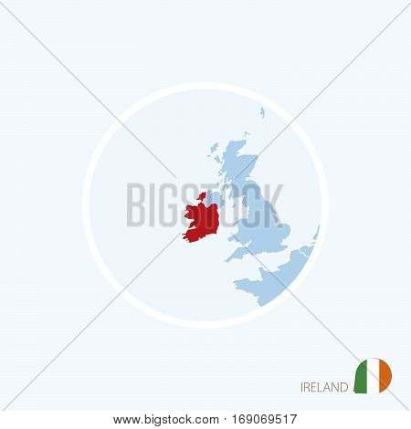 Map Icon Of Republic Of Ireland. Blue Map Of Europe With Highlighted Ireland In Red Color.