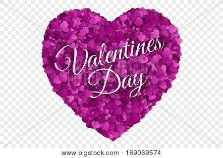 Valentine's Day Vector illustration. Abstract Vector 3d Hearts on Transparent Backdrop