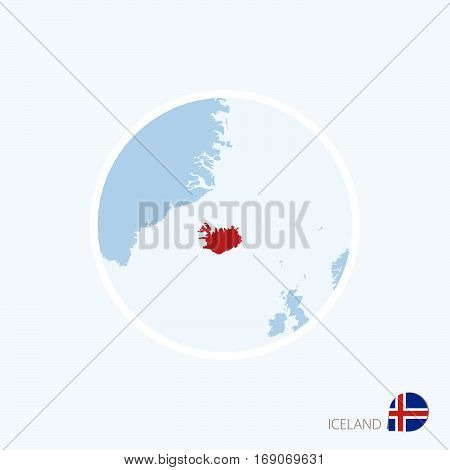Map Icon Of Iceland. Blue Map Of Europe With Highlighted Iceland In Red Color.