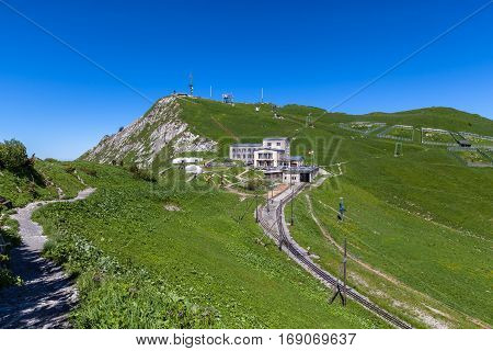 Beautiful view of the cogwheel train station on top of the Rochers-de-Naye near Montreux Canton of Vaud Switzerland