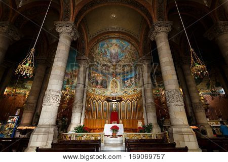 Barcelona Spain - January 03 2017: Columns and dome of the Sacred Heart of Jesus Church on the Tibidabo hill