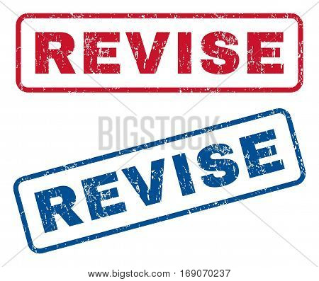 Revise text rubber seal stamp watermarks. Vector style is blue and red ink caption inside rounded rectangular shape. Grunge design and unclean texture. Blue and red emblems.