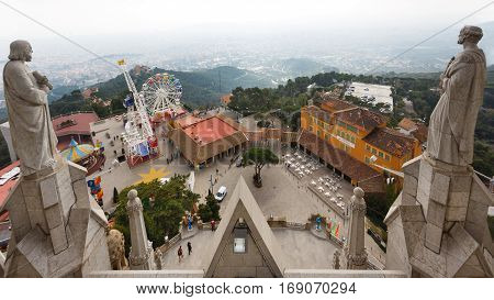 Barcelona Spain - January 03 2017: The church statues over the amusement park on the Tibidabo hill in Barcelona