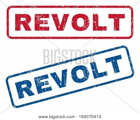 Revolt text rubber seal stamp watermarks. Vector style is blue and red ink tag inside rounded rectangular shape. Grunge design and dust texture. Blue and red signs.