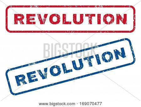 Revolution text rubber seal stamp watermarks. Vector style is blue and red ink caption inside rounded rectangular banner. Grunge design and dirty texture. Blue and red emblems.