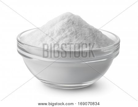 Glass bowl of baking soda isolated on white