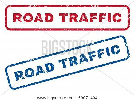 Road Traffic text rubber seal stamp watermarks. Vector style is blue and red ink tag inside rounded rectangular shape. Grunge design and scratched texture. Blue and red emblems.