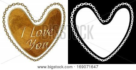 Gold chain in shape of heart on white background with alpha channel. 3D illustration