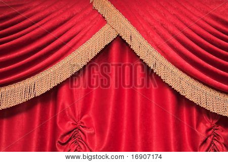 Background Of Red Theater Curtain