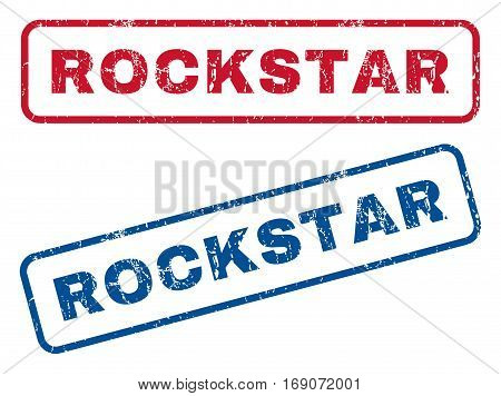 Rockstar text rubber seal stamp watermarks. Vector style is blue and red ink tag inside rounded rectangular shape. Grunge design and scratched texture. Blue and red signs.