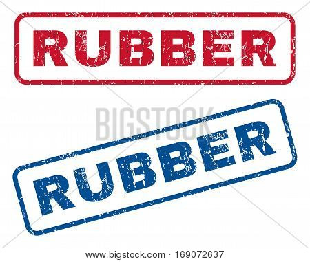 Rubber text rubber seal stamp watermarks. Vector style is blue and red ink caption inside rounded rectangular shape. Grunge design and dust texture. Blue and red signs.