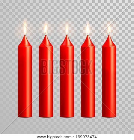 Romantic pink red candle flame burning. Aromatic candles vector decorative set. Vector 3D realistic isolated round cylindrical candle sticks glowing flames on transparent background. Decoration design