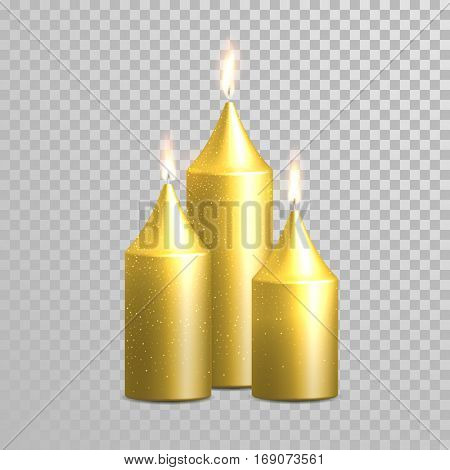 Golden candle flame sparkling glitter burning. Wedding or birthday holiday celebration decorative design elements. 3D realistic gold isolated round candle glowing flames on transparent background