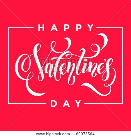 Valentines heart pattern background for greeting card calligraphy text with white frame border font on red pink purple background. Valentines day 14 February love vector congratulation design