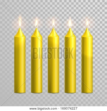 Vector candles with burning flames of yellow wax paraffin with burning flames on transparent background. Wedding decoration white or beige element design