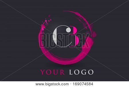 CB Circular Letter Brush Logo. Pink Brush with Splash Concept Design.